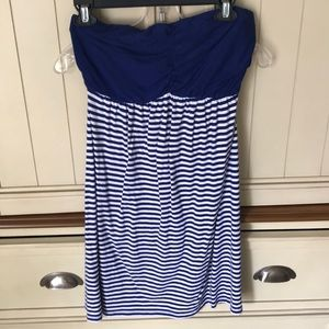 Blue and white striped strapless dress.
